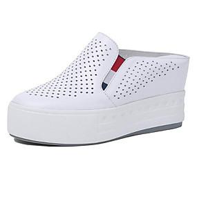 voordelige Damessneakers-Dames Sneakers Comfort schoenen Platte hak Ronde Teen Nappaleer Lente Wit / Zwart / Zilver