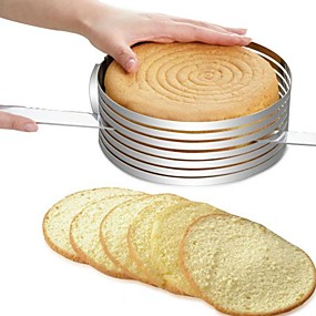 cheap Cookie Tools-Layer Cake Cutter Slicer Mousse Mould 8 inch Stainless Steel Round Bread Cake Adjustable Slicer Cutter Mold DIY Baking Cake Tools Kit Set