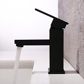 preiswerte Discount-Hähne-Waschbecken Wasserhahn - Wasserfall / Verbreitete Lackierte Oberflächen deckenmontiert Einhand Ein LochBath Taps