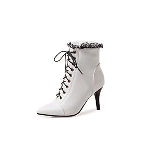 billige Mote Boots-Dame Støvler Party Heels Stiletthæl Spisstå Sløyfe / Blondesøm PU Ankelstøvler Ankelstøvel Høst vinter Hvit / Svart / Grønn / Fest / aften