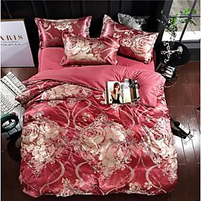 preiswerte Schonbezüge-Bettbezug-Sets Luxus Polyester Jacquard 4 StückBedding Sets / 400 / 4-teilig (1 Bettbezug, 1 Bettlaken, 2 Kissenbezüge)