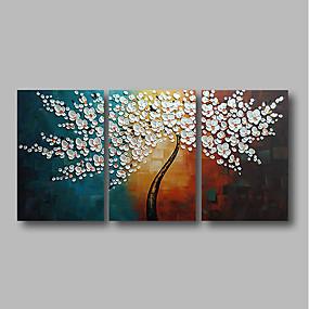 povoljno Slike za cvjetnim/biljnim motivima-Hang oslikana uljanim bojama Ručno oslikana - Sažetak Cvjetni / Botanički Comtemporary Uključi Unutarnji okvir / Tri plohe / Prošireni platno