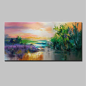 cheap Floral/Botanical Paintings-Oil Painting Hand Painted Landscape / Floral / Botanical Modern Canvas With Stretched Frame