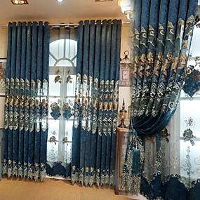 preiswerte Heiße Angebote-Modern Vorhänge drapiert zwei Panele Vorhang / Verdunkelung / Stickerei / Schlafzimmer
