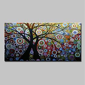 preiswerte Ölgemälde-Hang-Ölgemälde Handgemalte - Abstrakt Blumenmuster / Botanisch Klassisch Modern Ohne Innenrahmen / Gerollte Leinwand