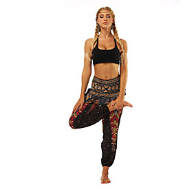 cheap Yoga & Fitness-Women's High Waist Yoga Pants Harem Smocked Waist Bloomers Breathable Moisture Wicking Red black Zumba Belly Dance Fitness Sports Activewear Inelastic Loose