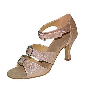 ราคาถูก Dance Shoes-สำหรับผู้หญิง รองเท้าเต้นรำ ซาติน ลาติน รองเท้าแตะ / ส้น ส้นป้าน ตัดเฉพาะได้ สีดำ / สีน้ำตาล / Performance / ฝึก
