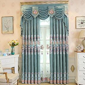 preiswerte Vorhänge und Gardinen-Modern Vorhänge drapiert zwei Panele Vorhang / Verdunkelung / Stickerei / Wohnzimmer