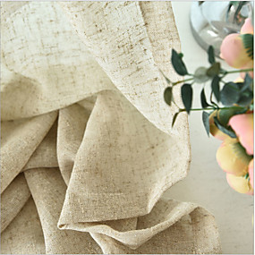 cheap Sheer Curtains-Two Panel Modern Minimalist Style Thick Linen Screens Living Room Bedroom Dining Room Children's Room