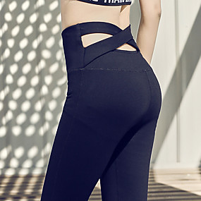 cheap Yoga & Fitness-Women's High Waist Yoga Pants Criss Cross Waist Leggings Quick Dry Moisture Wicking Black Nylon Zumba Gym Workout Running Sports Activewear Micro-elastic