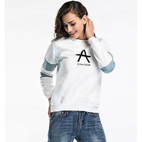 preiswerte Damenbekleidung-Damen Rundhalsausschnitt Pullover - Druck, Buchstabe Baumwolle