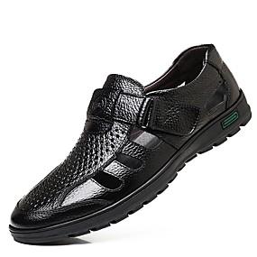 voordelige Wijdere maten schoenen-Heren Comfort schoenen Leer Zomer Sandalen Zwart / Bruin / EU40