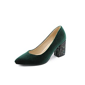 cheap Women's Pumps-Women's Heels Pumps Plus Size Chunky Heel Pointed Toe Chinoiserie Party & Evening Solid Colored Microfiber Black / Burgundy / Dark Green