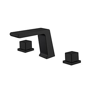 preiswerte Discount-Hähne-Waschbecken Wasserhahn - Wasserfall / Neues Design Schwarz 3-Loch-Armatur Zwei Griffe Drei LöcherBath Taps