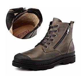 voordelige Wijdere maten schoenen-Heren Legerlaarzen Nappaleer Herfst / Winter Brits Laarzen Non-uitglijden Korte laarsjes / Enkellaarsjes Zwart / Bruin