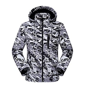 cheap Camping, Hiking & Backpacking-Men's Hiking Softshell Jacket Winter Outdoor Camo Windproof Breathable Anatomic Design Wear Resistance Jacket Winter Jacket Top Softshell Waterproof Single Slider Camping / Hiking Hunting Traveling