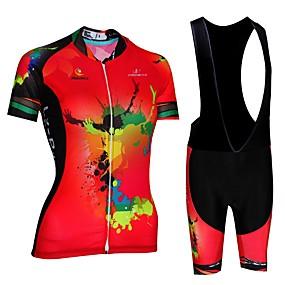 cheap Women-Malciklo Women's Short Sleeve Cycling Jersey with Bib Shorts - Red / White / Black / Red Plus Size Bike Bib Shorts Jersey Breathable Quick Dry Anatomic Design Reflective Strips Sports Lycra Painting