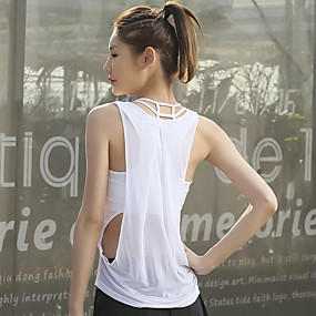 cheap Women's Activewear-Women's Scoop Neck Yoga Built In Bra Tank Hollow Out See Through Fashion Black White Mesh Running Fitness Gym Workout Vest / Gilet Tank Top Sleeveless Sport Activewear Lightweight Breathable Quick Dry