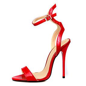 voordelige Wijdere maten schoenen-Dames Sandalen Naaldhak Open teen  Gesp PU Basispump Zomer Zwart / Rood / Feesten & Uitgaan / Feesten & Uitgaan