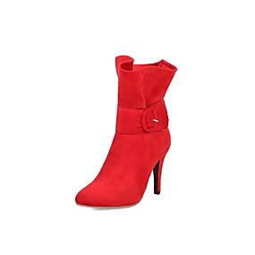billige Mote Boots-Dame Støvler Suede Sko Stiletthæl Spisstå Spenne Mikrofiber Støvletter Trendy støvler Høst vinter Svart / Grå / Rød / Fest / aften