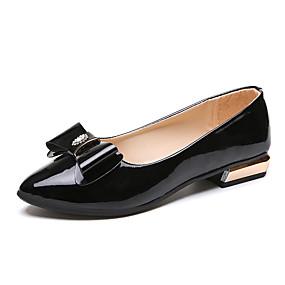 voordelige Damesschoenen met platte hak-Dames Platte schoenen Comfort schoenen Lage hak Gepuntte Teen Strik Imitatieleer Informeel Lente zomer Wit / Zwart / Licht Roze / EU36