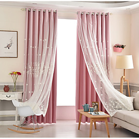 preiswerte Vorhänge und Gardinen-Modern Verdunklungsvorhänge Vorhänge zwei Panele Vorhang und Gardine / Verdunkelung / Stickerei / Kinderzimmer