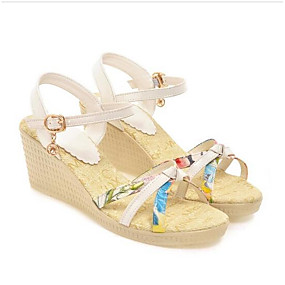 preiswerte Sandalen mit Keilabsatz-Damen Sandalen Keilabsatz PU Sommer Weiß / Rosa