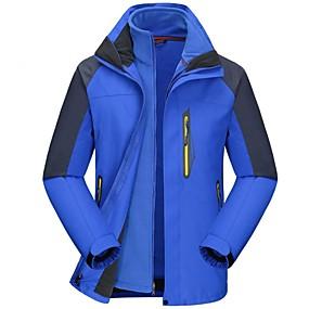 cheap Camping, Hiking & Backpacking-Men's Hiking Jacket Hiking 3-in-1 Jackets Winter Outdoor Windproof Rain Waterproof Quick Dry Breathable Jacket 3-in-1 Jacket Waterproof Single Slider Ski / Snowboard Camping / Hiking / Caving Back