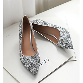 cheap Women's Pumps-Women's Heels Glitter Crystal Sequined Jeweled Low Heel Denim Spring Gold / White / Silver / Daily
