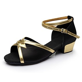 cheap Dance Shoes Classic Collection-Women's Dance Shoes Satin / Patent Leather Latin Shoes Splicing Sandal / Heel Thick Heel Customizable Black / Performance / Practice