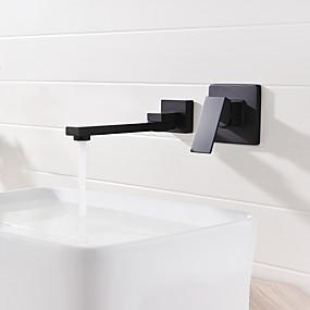 preiswerte Discount-Hähne-Waschbecken Wasserhahn - Verbreitete / Neues Design Schwarz Wandmontage Einzigen Handgriff Zwei LöcherBath Taps