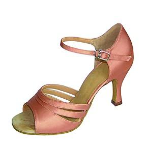 ราคาถูก Dance Shoes-สำหรับผู้หญิง รองเท้าเต้นรำ ซาติน ลาติน รองเท้าแตะ / ส้น ส้นป้าน ตัดเฉพาะได้ สีน้ำตาล / สีดำและสีขาว / Nude / Performance / ฝึก