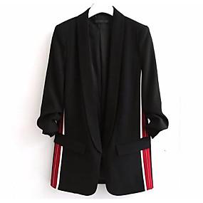 preiswerte Damenbekleidung-Damen Alltag Standard Blazer, Solide / Gestreift Peter Pan-Kragen Langarm Acryl / Polyester Schwarz