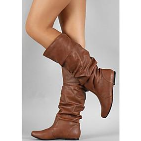 preiswerte Schuhe und Taschen-Damen Stiefel Fashion Boots Flacher Absatz Runde Zehe Schnalle PU Mittelhohe Stiefel Minimalismus Herbst Winter Grau / Braun / Khaki