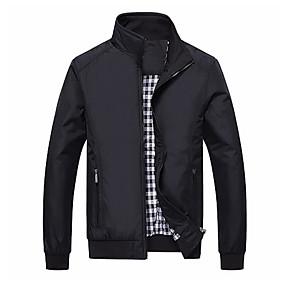 preiswerte Herrenmode-Herrn Sport Herbst Winter Standard Jacke, Solide Ständer Langarm Polyester Blau / Schwarz
