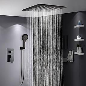 preiswerte Duscharmaturen-Duscharmaturen - Moderne Lackierte Oberflächen Duschsystem Keramisches Ventil Bath Shower Mixer Taps / Messing / Einhand Drei Löcher