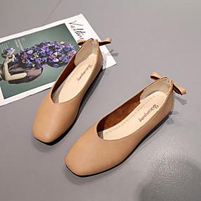 voordelige Damesschoenen met platte hak-Dames Platte schoenen Platte hak Vierkante Teen PU Comfortabel Zomer Wit / Beige / Lichtbruin