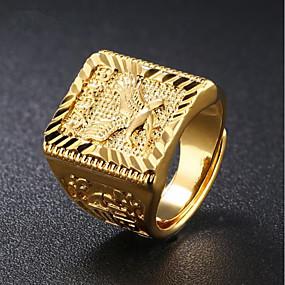 billige gate-Herre Signet Ring Gull 18K Gullbelagt Kvadrat Geometrisk Form Gatemote Hip Hop Daglig Aftenselskap Smykker Elegant Indgraveret Ørn Punk