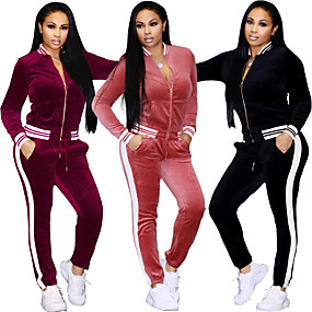 cheap Yoga & Fitness-Women's Tracksuit Sweatsuit Winter Stripes Pink Velour Yoga Fitness Gym Workout High Waist Track Pants Track Jacket Clothing Suit Long Sleeve Sport Activewear Thermal Warm Breathable Soft / Stretchy