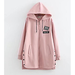 preiswerte Damenbekleidung-Damen Alltag Grundlegend Lang Jacke, Solide Mit Kapuze Langarm Polyester Schwarz / Rosa / Armeegrün