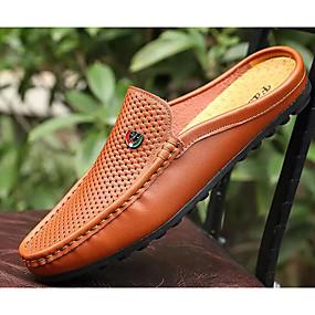 cheap Men's Clogs & Mules-Men's Clogs & Mules Comfort Shoes Daily Cowhide White / Black / Brown Spring