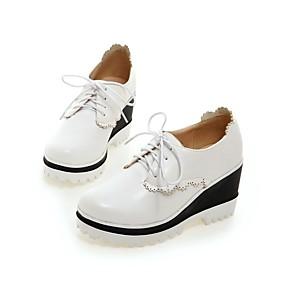 voordelige Dames Oxfords-Dames Oxfords Comfort schoenen Sleehak Ronde Teen PU Lente & Herfst Zwart / Roze / Lichtblauw / Dagelijks