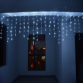 cheap Plug in Electric-4m 13ft 96 LED String Lights Dip LED US Plug 110V-120V EU Plug 220V-240V Extendable Curtain Linkable 8 Modes Christmas Decorative Rope String Twinkle Light Warm Cold White RGB