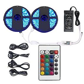 povoljno Kntrola putem aplikacije-KWB 2x5M Savitljive LED trake Daljinski upravljači Smart Lights 600 LED diode SMD5050 10mm 1 12V 6A adapter 1 24Ključuje daljinski upravljač 1set RGB APP kontrola Cuttable Ukrasno 100-240 V