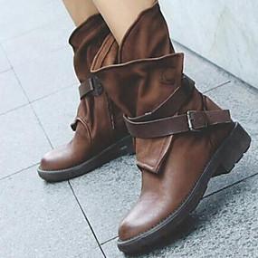billige Mote Boots-Dame Støvler Ridestøvler Lav hæl Rund Tå Nagle PU Støvletter Vintage Vår & Vinter Svart / Brun / EU40