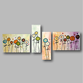 povoljno Slike za cvjetnim/biljnim motivima-Hang oslikana uljanim bojama Ručno oslikana - Pejzaž Cvjetni / Botanički Comtemporary Uključi Unutarnji okvir / Četiri plohe / Prošireni platno