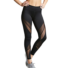 cheap Exercise, Fitness & Yoga-Women's High Waist Yoga Pants Pocket See Through Cropped Leggings Butt Lift Quick Dry Anatomic Design Patchwork Black Mesh Gym Workout Running Fitness Sports Activewear High Elasticity Slim