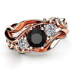 ราคาถูก แหวนวินเทจ-สำหรับผู้หญิง แหวน Obsidian 1pc Rose Gold ทองแดง Obsidian เคลือบทองคำสีกุหลาบ สี่แฉก สุภาพสตรี เกาหลี แฟชั่น งานแต่งงาน กลางคืนออกและโอกาสพิเศษ เครื่องประดับ สไตล์วินเทจ Petal น่ารัก / เลียนแบบเพชร