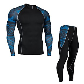 cheap Men's Activewear-JACK CORDEE Men's 2 Piece Patchwork Activewear Set Workout Outfits Running Base Layer Athletic 2pcs Winter Long Sleeve Spandex Anatomic Design Quick Dry Breathable Fitness Gym Workout Basketball