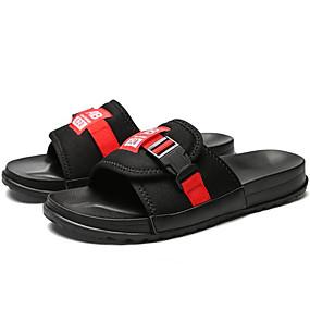 levne Větší obuv-Pánské Komfortní boty Plátno Léto Na běžné nošení Pantofle a Žabky Černá / Černočervená / černá / modrá